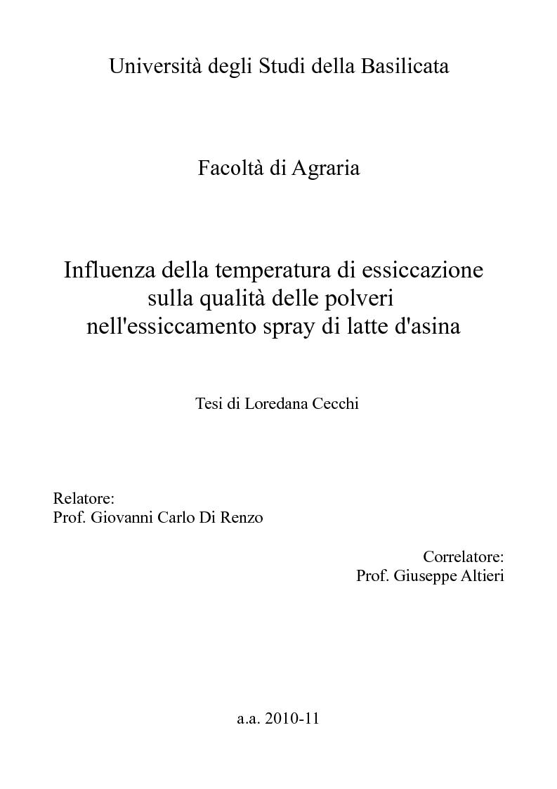 Anteprima della tesi: Influenza della temperatura di essiccazione sulla qualità delle polveri nell'essiccamento spray di latte d'asina, Pagina 1