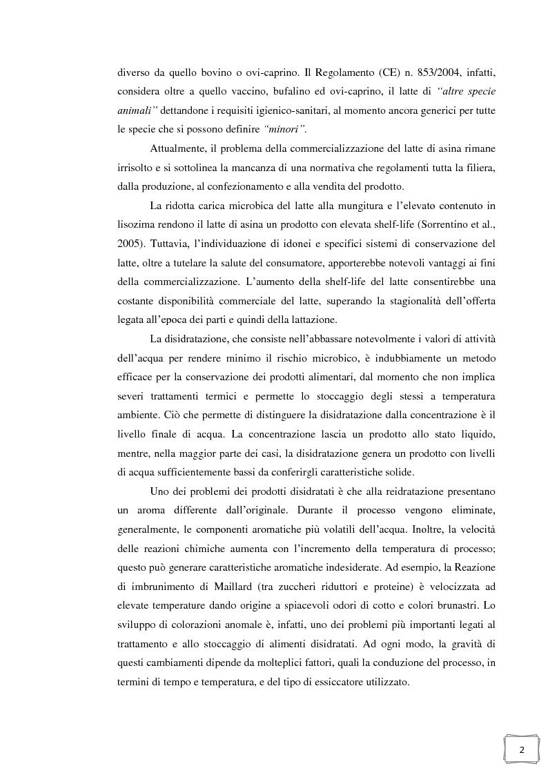 Anteprima della tesi: Influenza della temperatura di essiccazione sulla qualità delle polveri nell'essiccamento spray di latte d'asina, Pagina 3