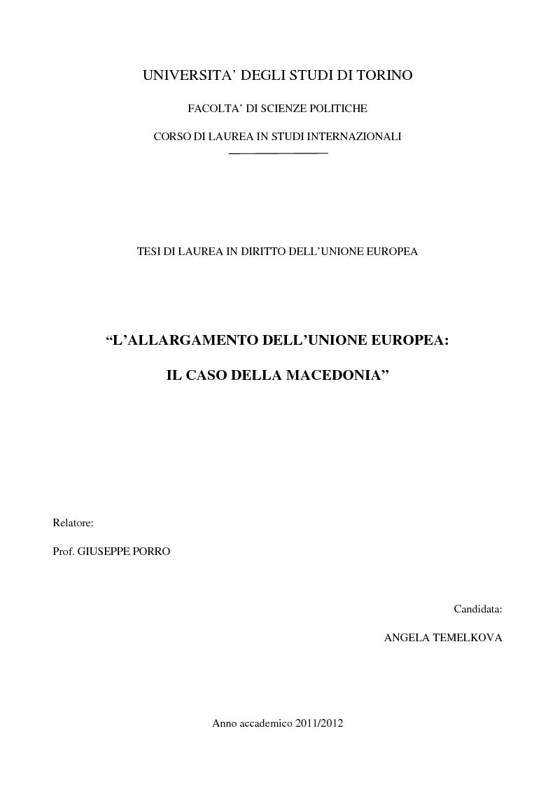 Anteprima della tesi: L'Allargamento dell'Unione europea: il caso della Macedonia, Pagina 1