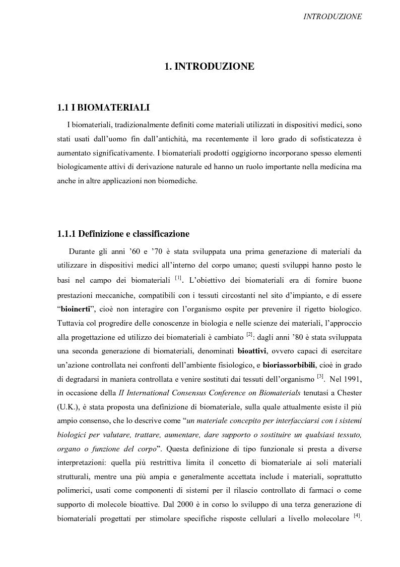 Anteprima della tesi: Progettazione, preparazione e caratterizzazione strutturale e biologica di supporti polimerici tridimensionali per applicazioni di ingegneria tissutale, Pagina 2