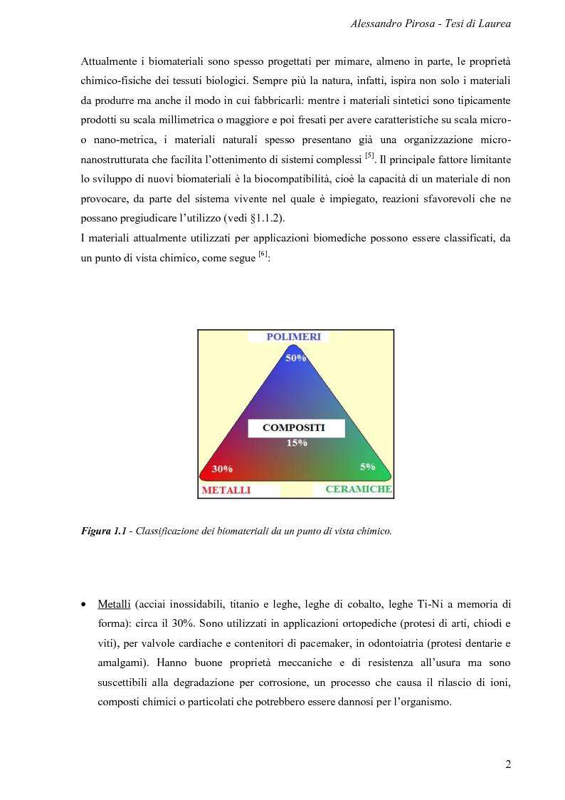 Anteprima della tesi: Progettazione, preparazione e caratterizzazione strutturale e biologica di supporti polimerici tridimensionali per applicazioni di ingegneria tissutale, Pagina 3
