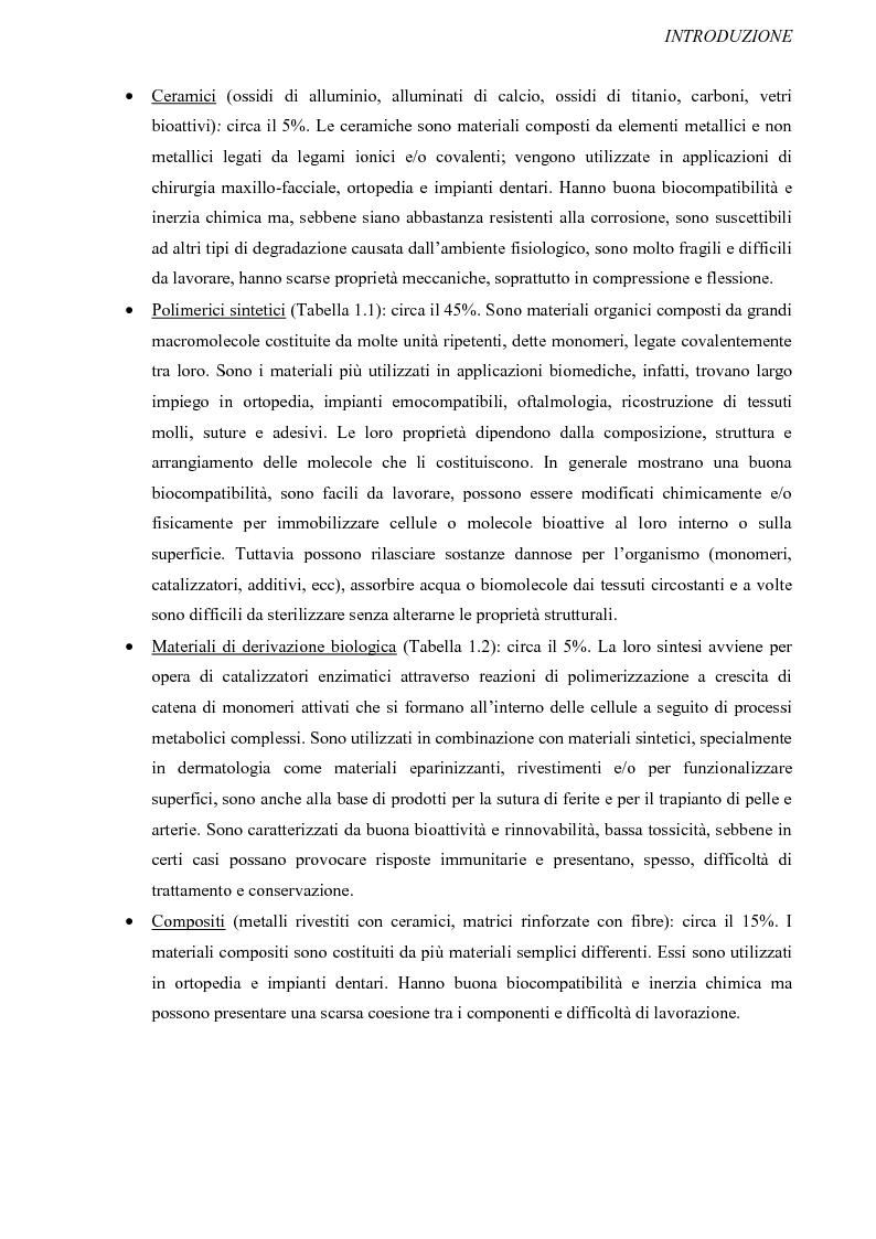 Anteprima della tesi: Progettazione, preparazione e caratterizzazione strutturale e biologica di supporti polimerici tridimensionali per applicazioni di ingegneria tissutale, Pagina 4