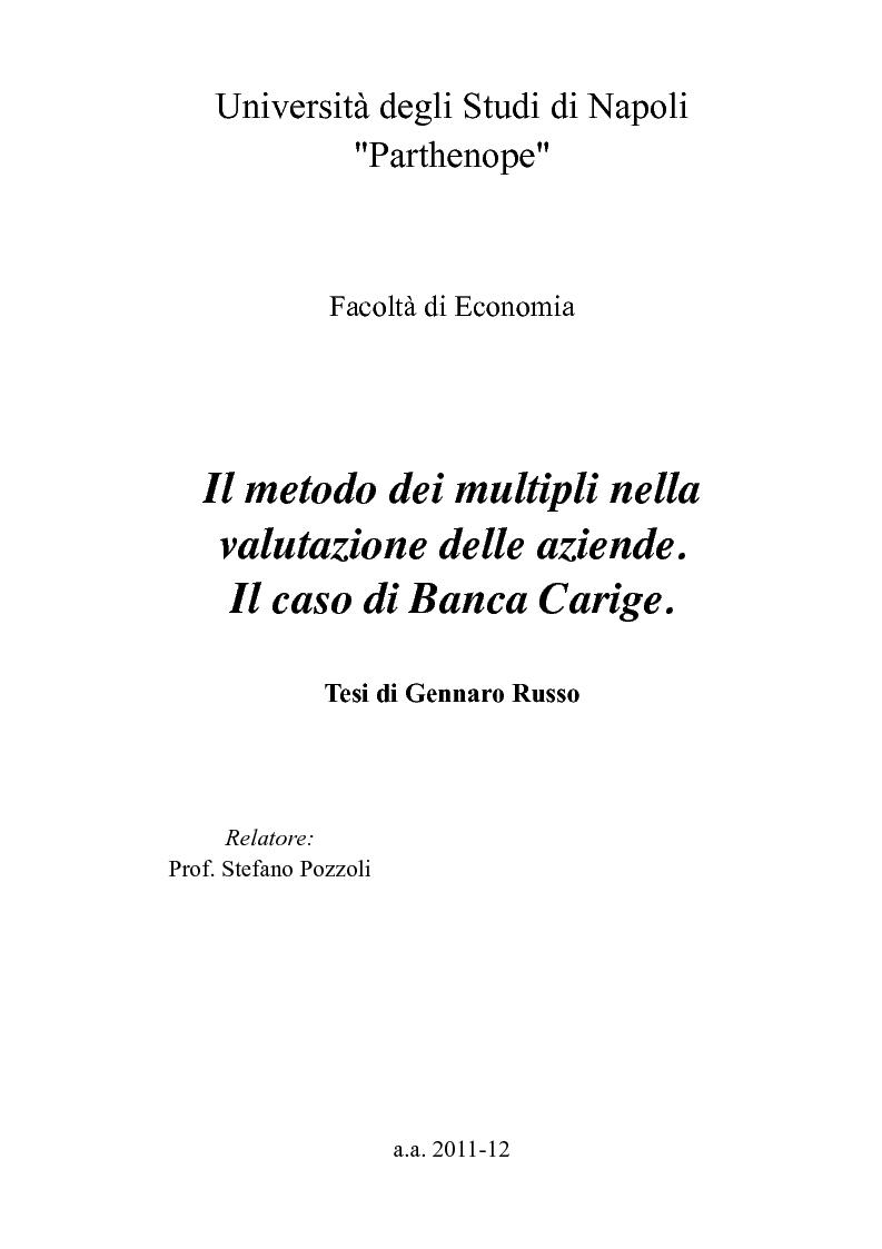Anteprima della tesi: Il metodo dei multipli nella valutazione delle aziende. Il caso di Banca Carige., Pagina 1