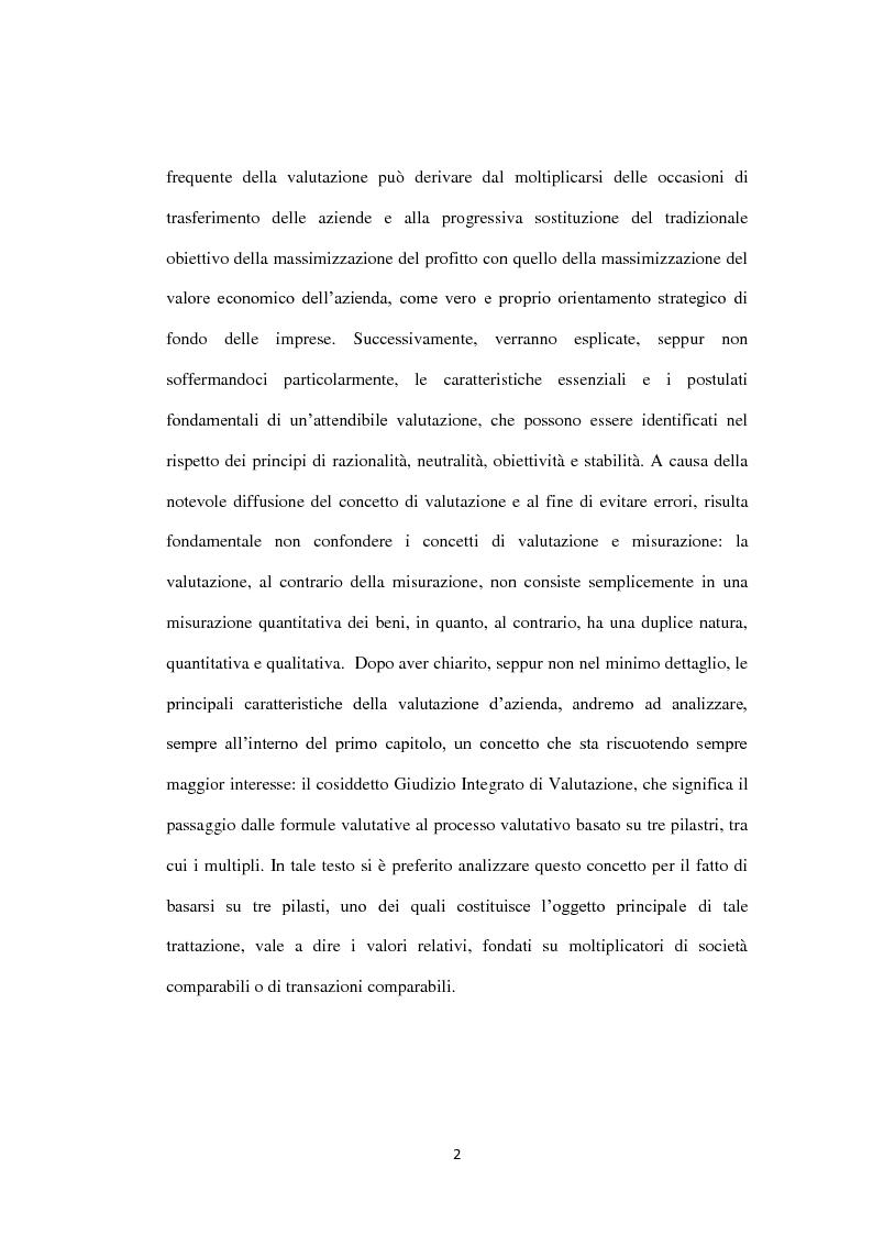 Anteprima della tesi: Il metodo dei multipli nella valutazione delle aziende. Il caso di Banca Carige., Pagina 3