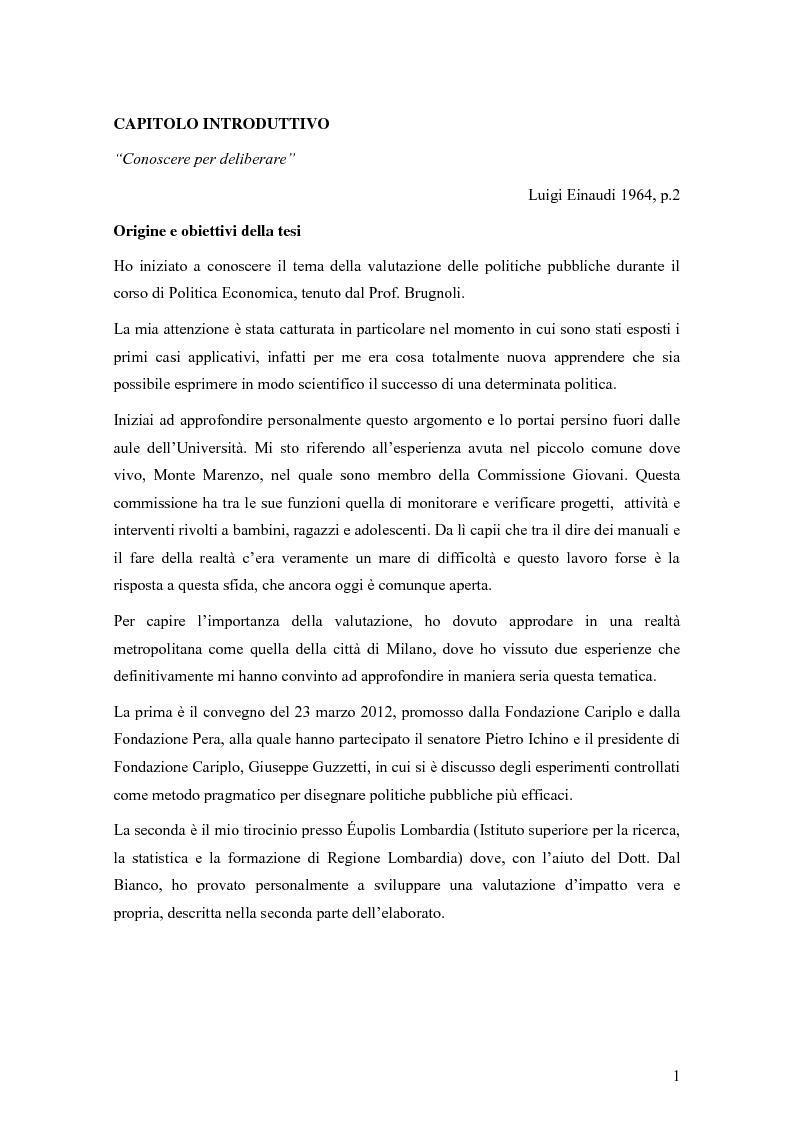 Anteprima della tesi: La valutazione degli effetti delle politiche pubbliche: aspetti teorico metodologici e applicazione al POR FESR 2007-2013 in Lombardia, Pagina 2
