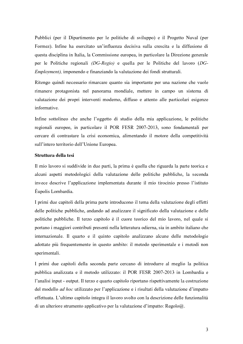 Anteprima della tesi: La valutazione degli effetti delle politiche pubbliche: aspetti teorico metodologici e applicazione al POR FESR 2007-2013 in Lombardia, Pagina 4