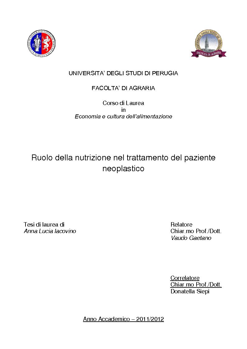 Anteprima della tesi: Ruolo della nutrizione nel trattamento del paziente neoplastico, Pagina 1