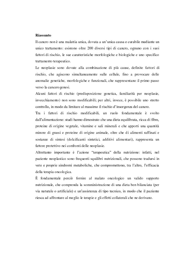 Anteprima della tesi: Ruolo della nutrizione nel trattamento del paziente neoplastico, Pagina 2