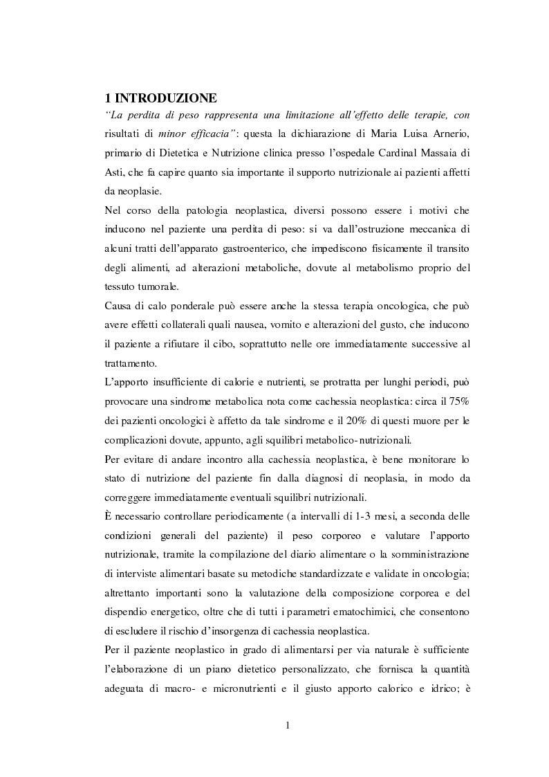 Anteprima della tesi: Ruolo della nutrizione nel trattamento del paziente neoplastico, Pagina 3