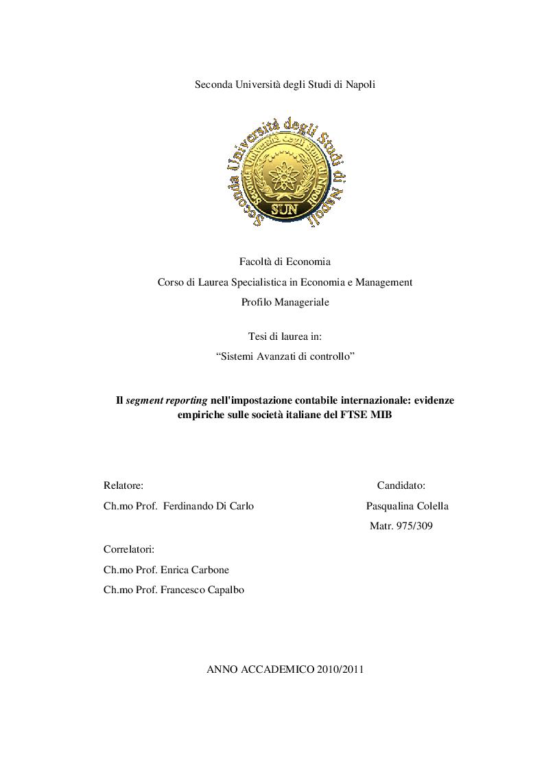 Anteprima della tesi: Il segment reporting nell'impostazione contabile internazionale: evidenze empiriche sulle società italiane del FTSE MIB, Pagina 1