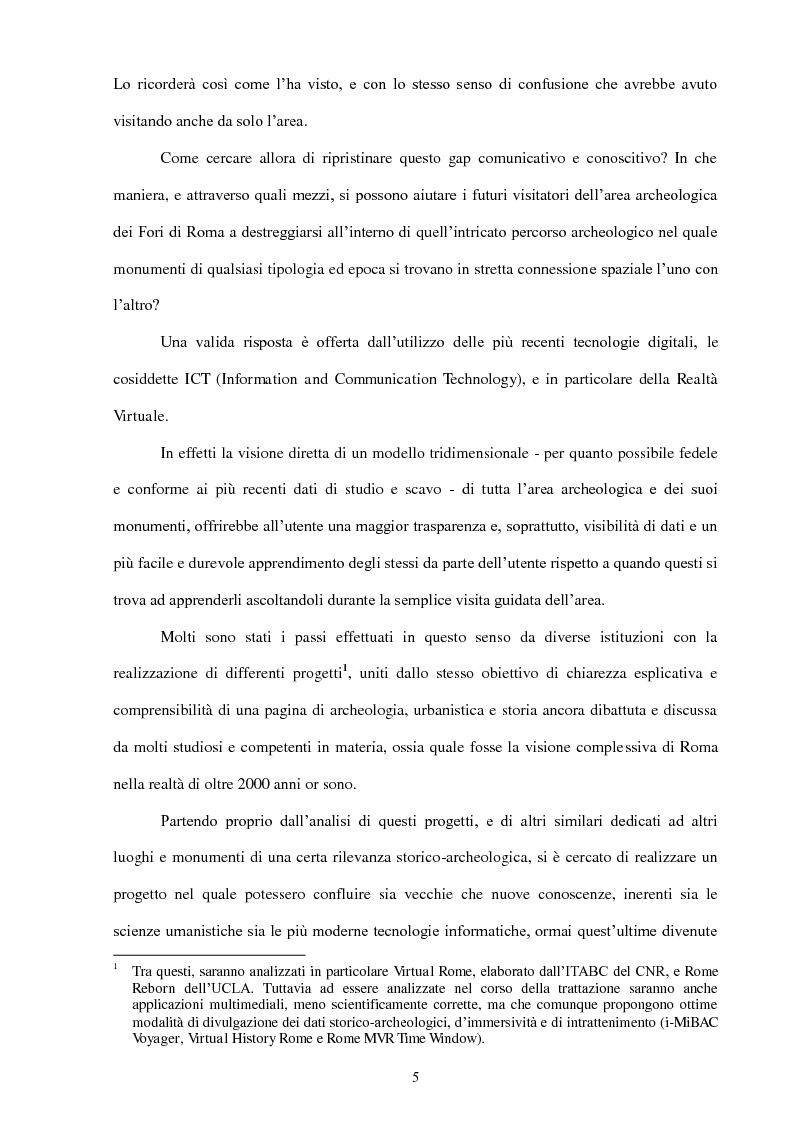 Anteprima della tesi: La Realtà Virtuale come nuova metodologia dei dati storico-archeologici. Il caso-studio del Foro romano, Pagina 3