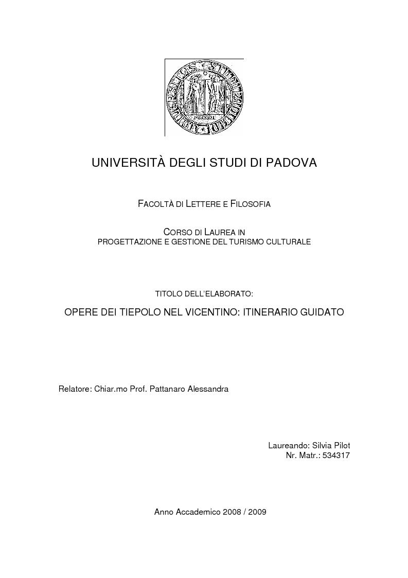 Anteprima della tesi: Opere dei Tiepolo nel vicentino: itinerario guidato, Pagina 1