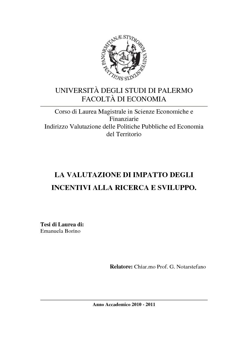 Anteprima della tesi: La valutazione di impatto degli incentivi alla R&S, Pagina 1