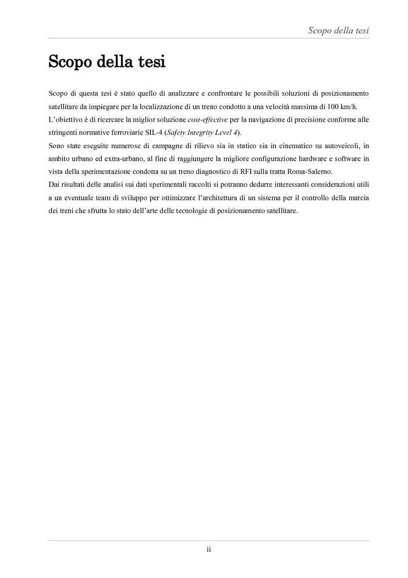 Anteprima della tesi: Analisi delle prestazioni di integrità e accuratezza di sistemi di localizzazione satellitare per il controllo della marcia dei treni, Pagina 2