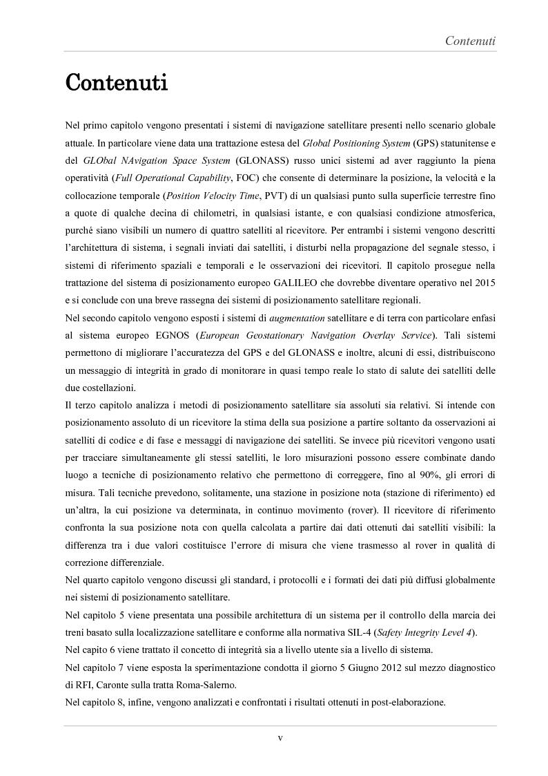 Anteprima della tesi: Analisi delle prestazioni di integrità e accuratezza di sistemi di localizzazione satellitare per il controllo della marcia dei treni, Pagina 5