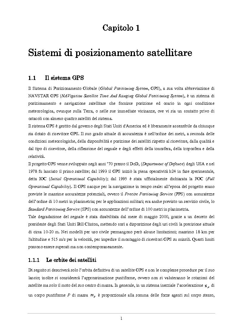 Anteprima della tesi: Analisi delle prestazioni di integrità e accuratezza di sistemi di localizzazione satellitare per il controllo della marcia dei treni, Pagina 6