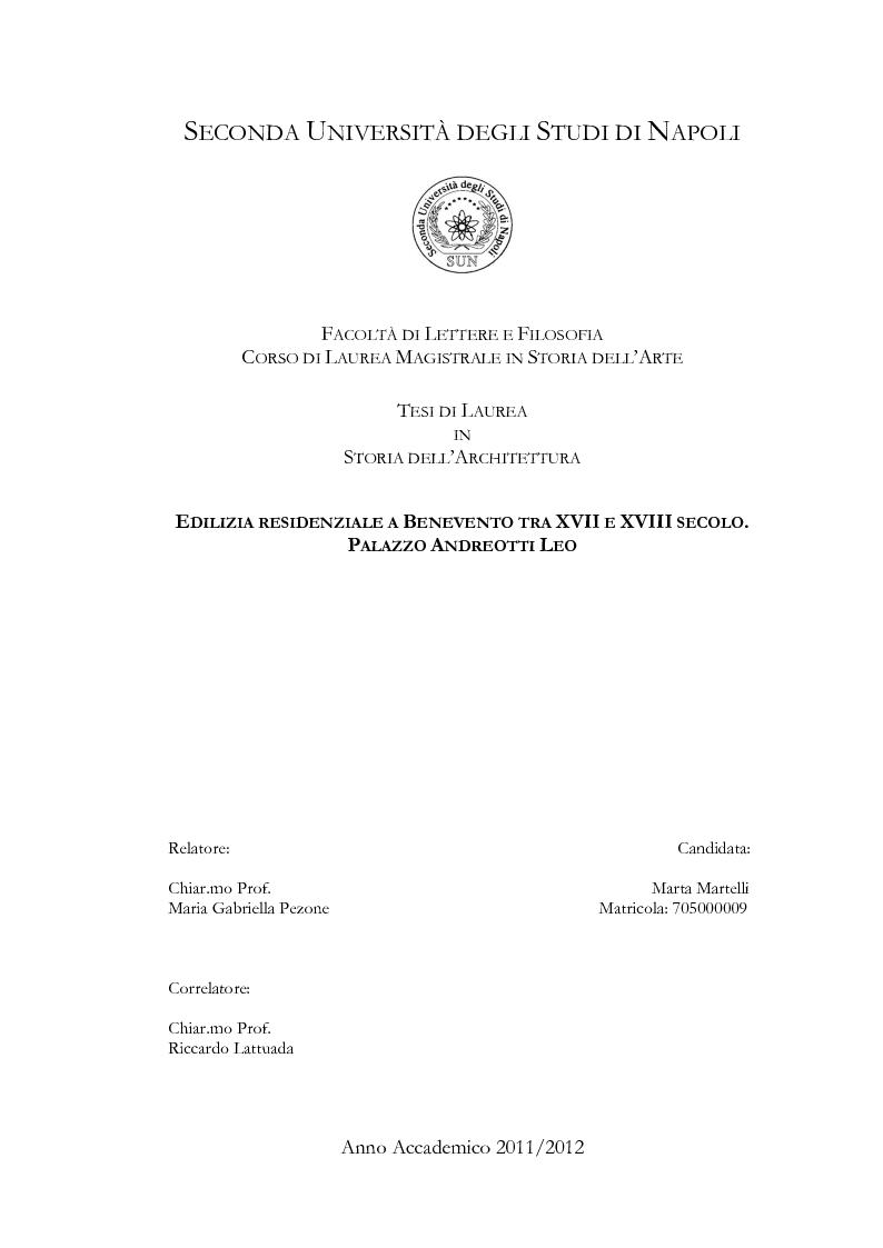 Anteprima della tesi: Edilizia residenziale a Benevento tra XVII e XVIII secolo. Palazzo Andreotti Leo, Pagina 1
