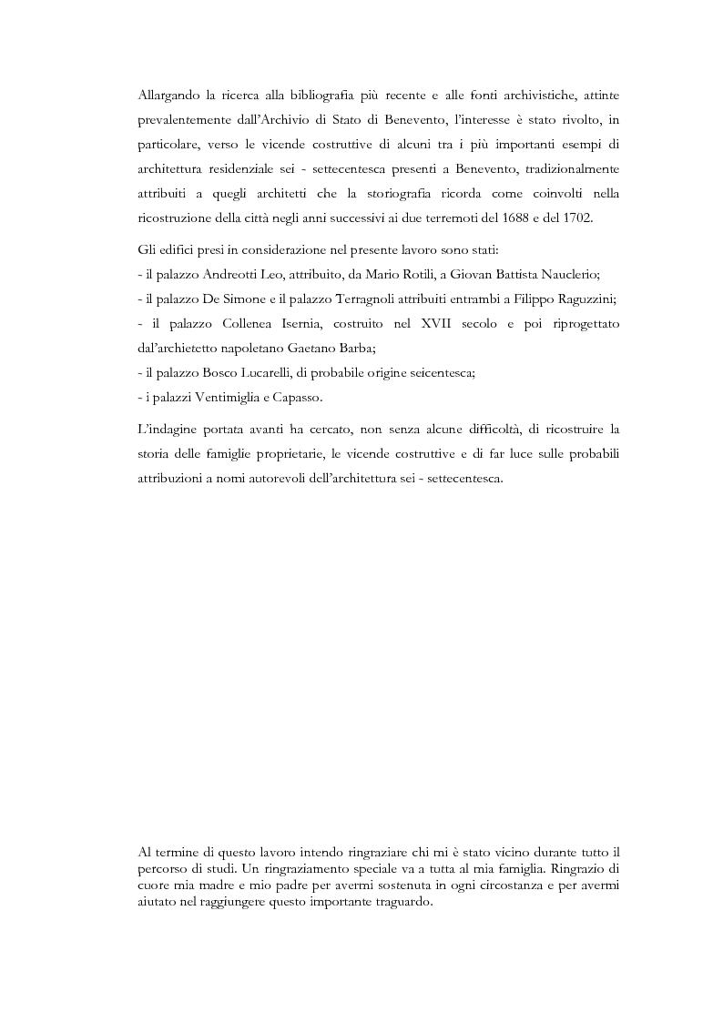 Anteprima della tesi: Edilizia residenziale a Benevento tra XVII e XVIII secolo. Palazzo Andreotti Leo, Pagina 3