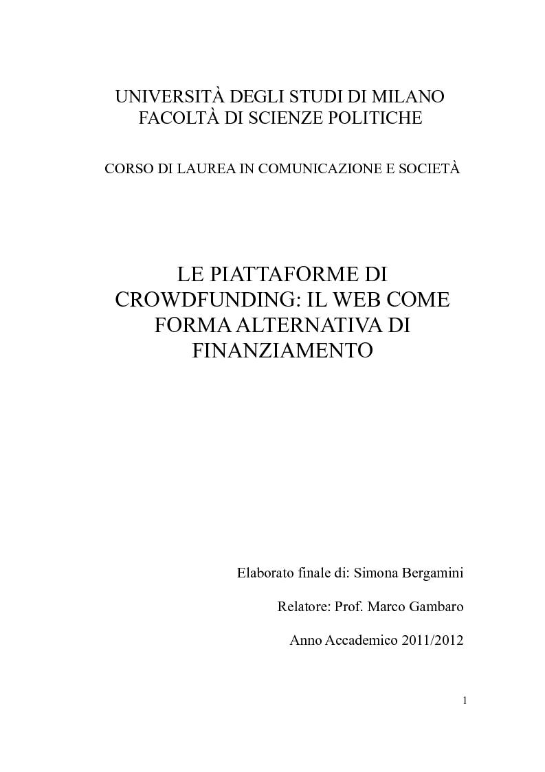 Anteprima della tesi: Le piattaforme di crowdfunding: il web come forma alternativa di finanziamento, Pagina 1