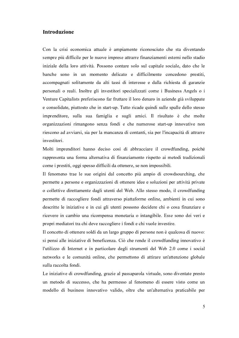 Anteprima della tesi: Le piattaforme di crowdfunding: il web come forma alternativa di finanziamento, Pagina 2