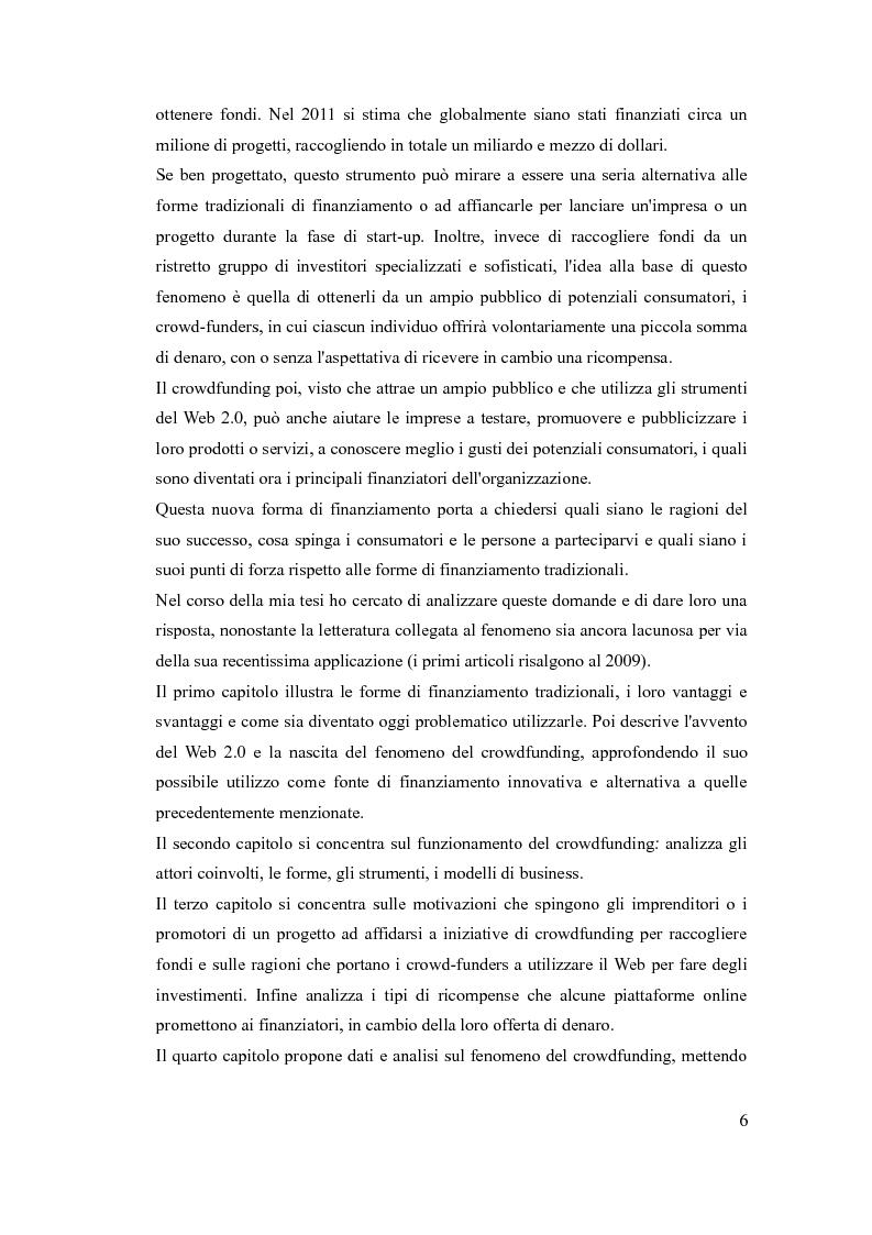 Anteprima della tesi: Le piattaforme di crowdfunding: il web come forma alternativa di finanziamento, Pagina 3