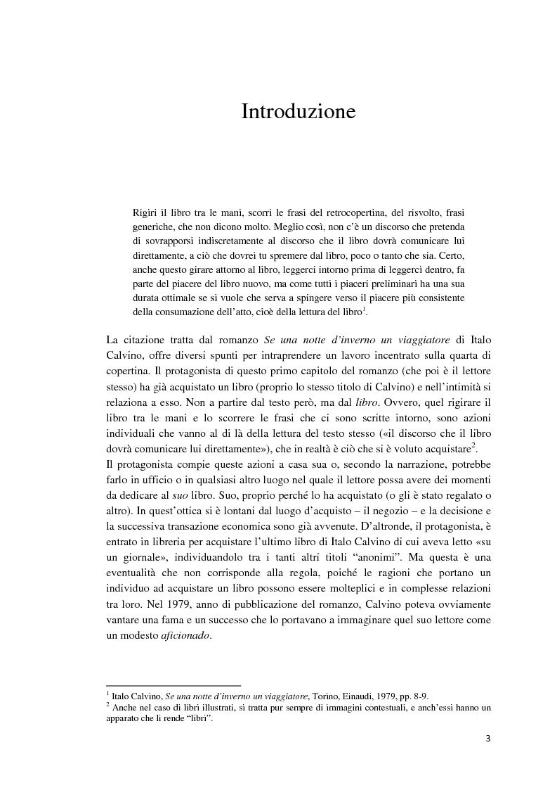 Anteprima della tesi: I libri dietro la quarta. Ruoli e forme della quarta di copertina, Pagina 2