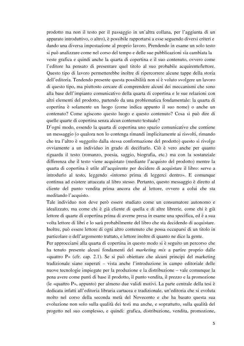 Anteprima della tesi: I libri dietro la quarta. Ruoli e forme della quarta di copertina, Pagina 4