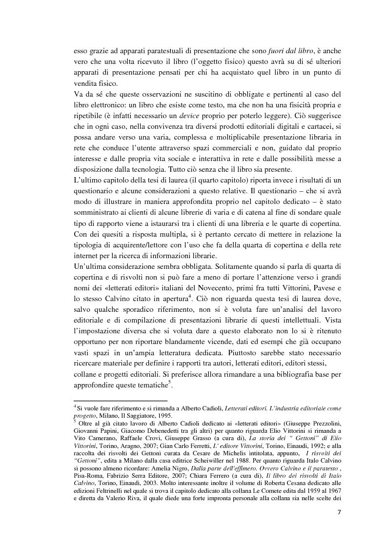 Anteprima della tesi: I libri dietro la quarta. Ruoli e forme della quarta di copertina, Pagina 6