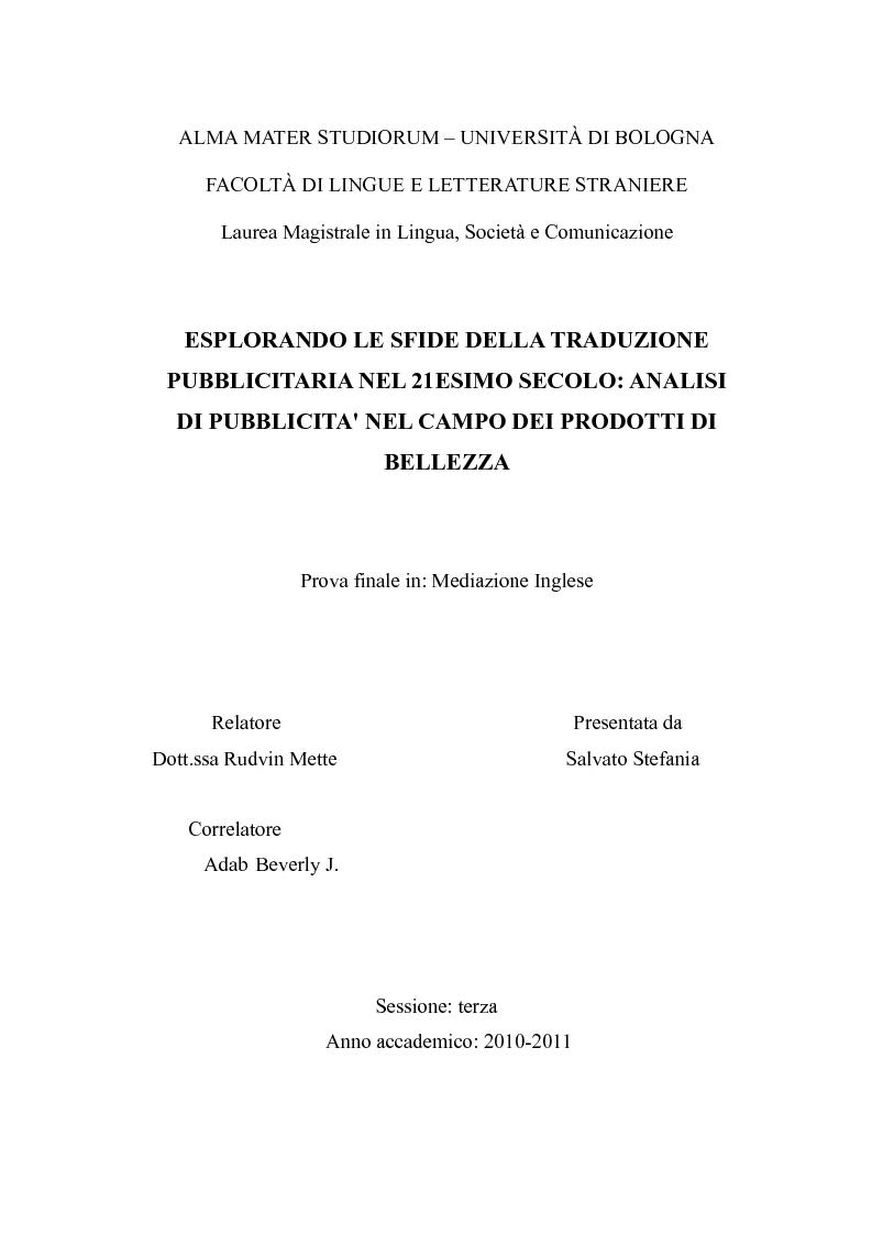 Anteprima della tesi: Esplorando le sfide della traduzione pubblicitaria nel 21esimo secolo: analisi di pubblicità nel campo dei prodotti di bellezza, Pagina 1