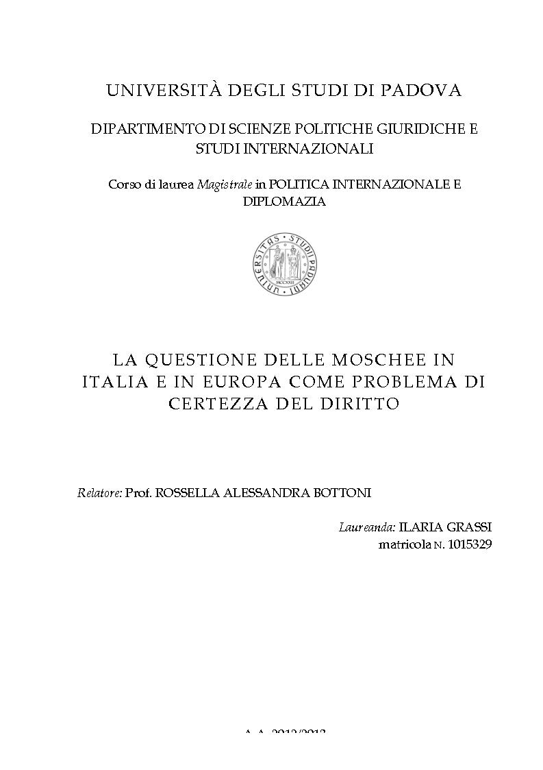 Anteprima della tesi: La questione delle moschee in Italia e in Europa come problema di certezza del diritto, Pagina 1