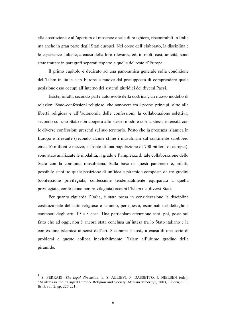 Anteprima della tesi: La questione delle moschee in Italia e in Europa come problema di certezza del diritto, Pagina 3
