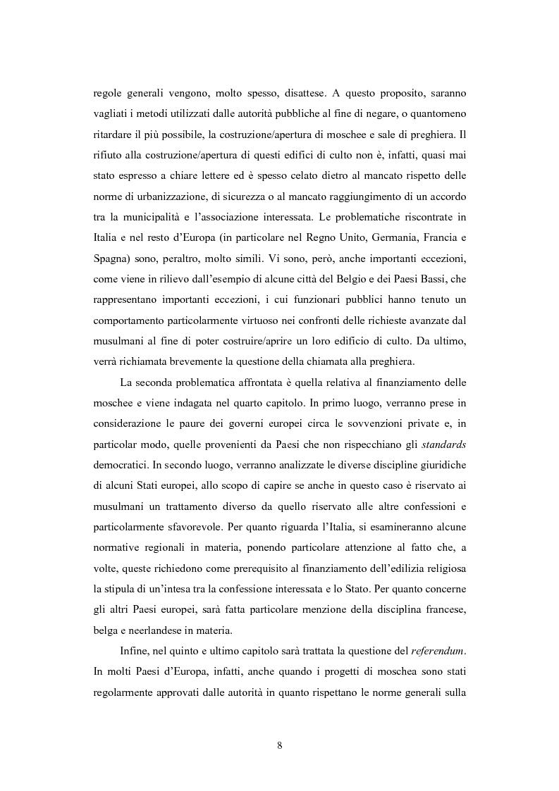 Anteprima della tesi: La questione delle moschee in Italia e in Europa come problema di certezza del diritto, Pagina 5