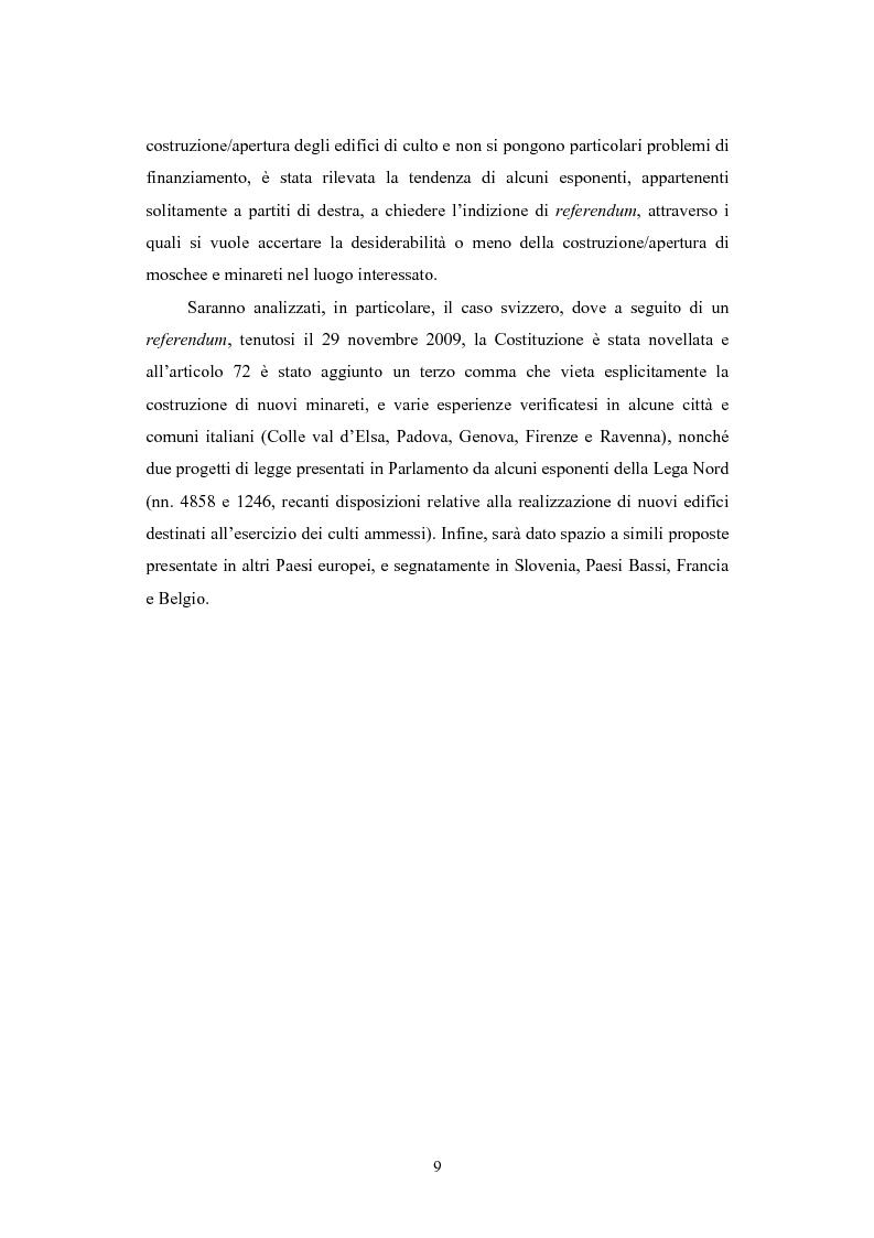 Anteprima della tesi: La questione delle moschee in Italia e in Europa come problema di certezza del diritto, Pagina 6