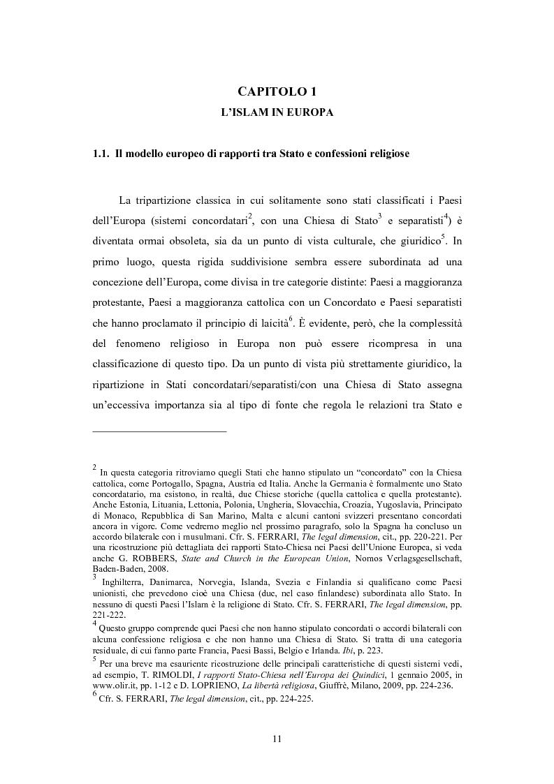 Anteprima della tesi: La questione delle moschee in Italia e in Europa come problema di certezza del diritto, Pagina 7