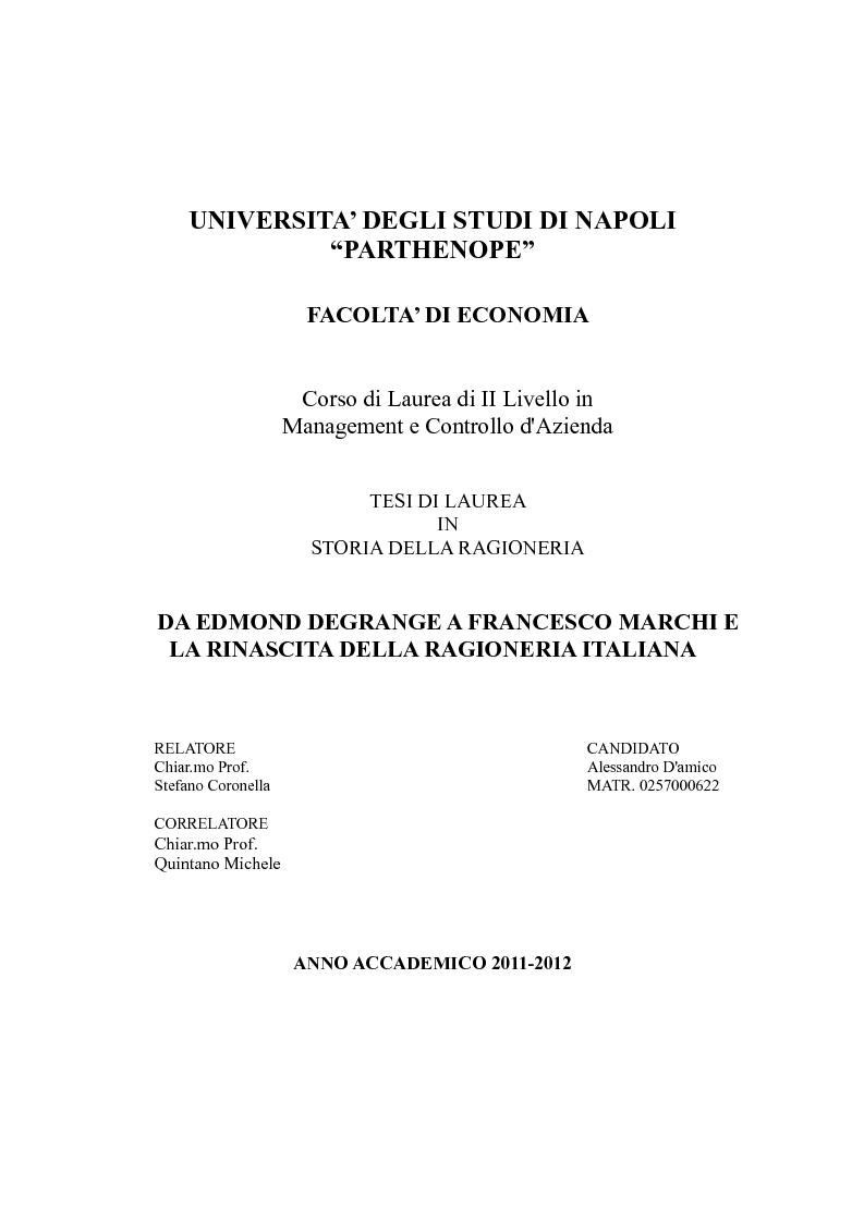 Anteprima della tesi: Da Edmond Degrange a Francesco Marchi e la rinascita della ragioneria italiana, Pagina 1