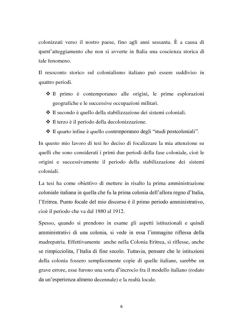 Anteprima della tesi: La politica coloniale e amministrativa italiana in Eritrea dal 1880 al 1912, Pagina 3
