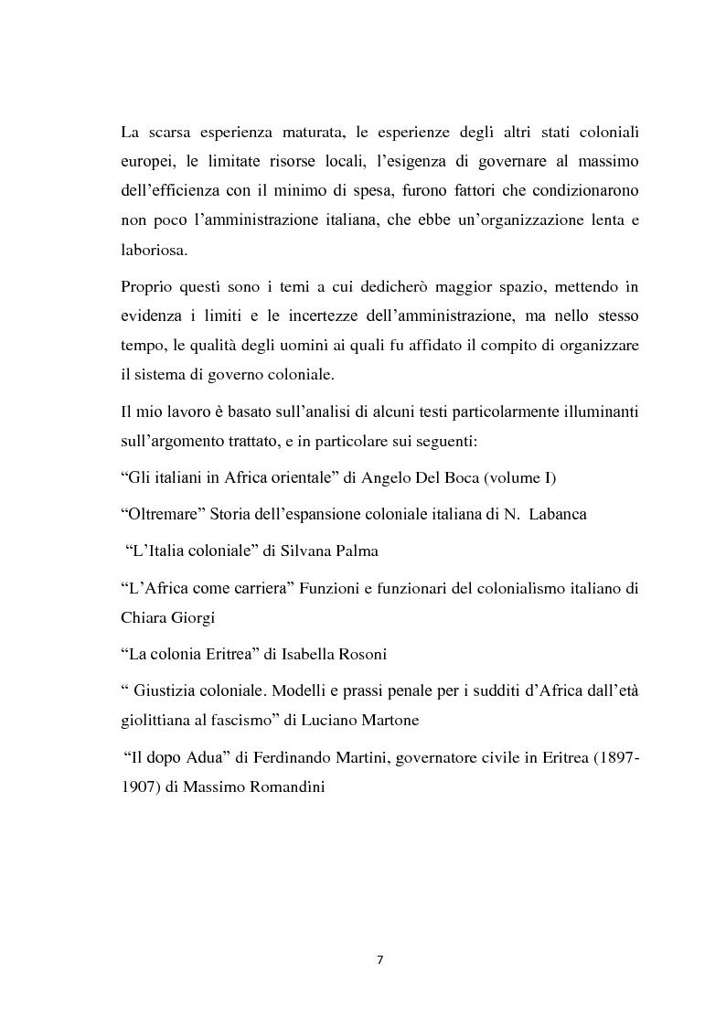 Anteprima della tesi: La politica coloniale e amministrativa italiana in Eritrea dal 1880 al 1912, Pagina 4