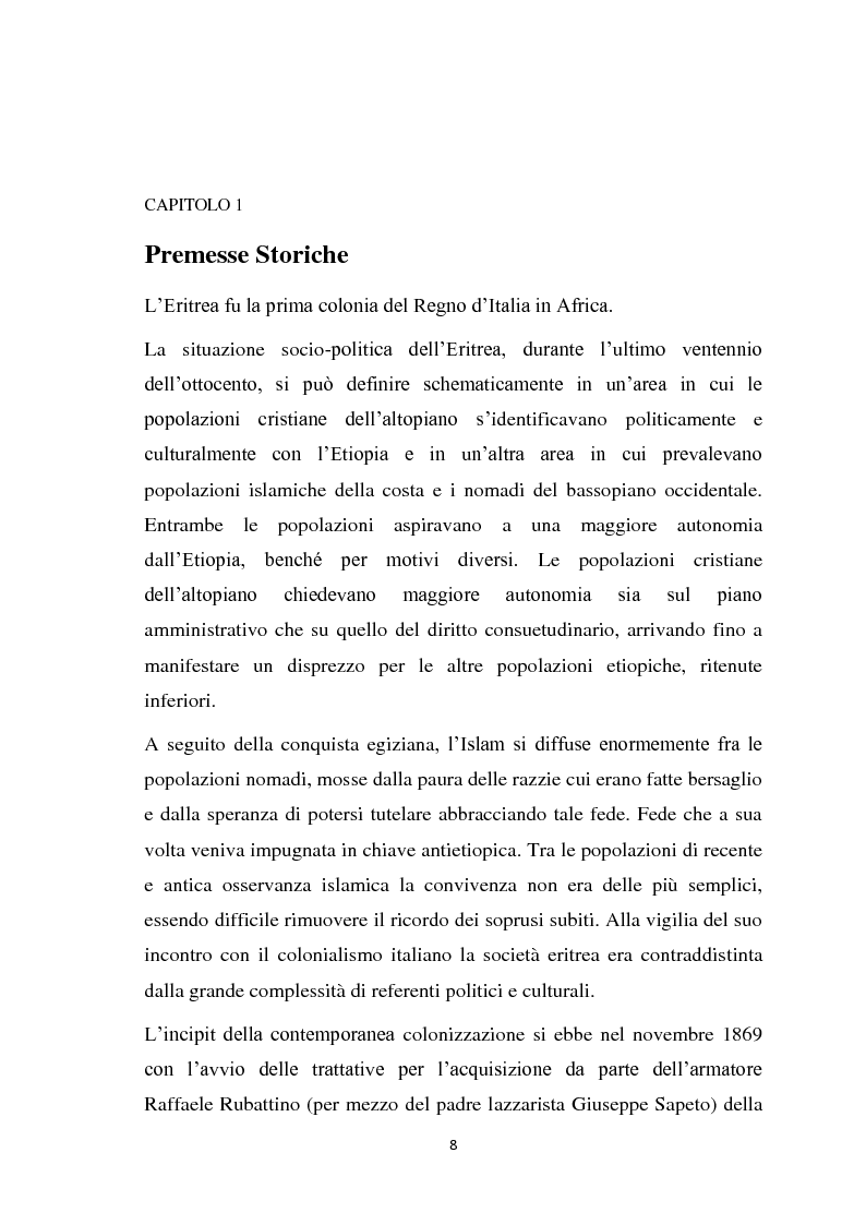 Anteprima della tesi: La politica coloniale e amministrativa italiana in Eritrea dal 1880 al 1912, Pagina 5