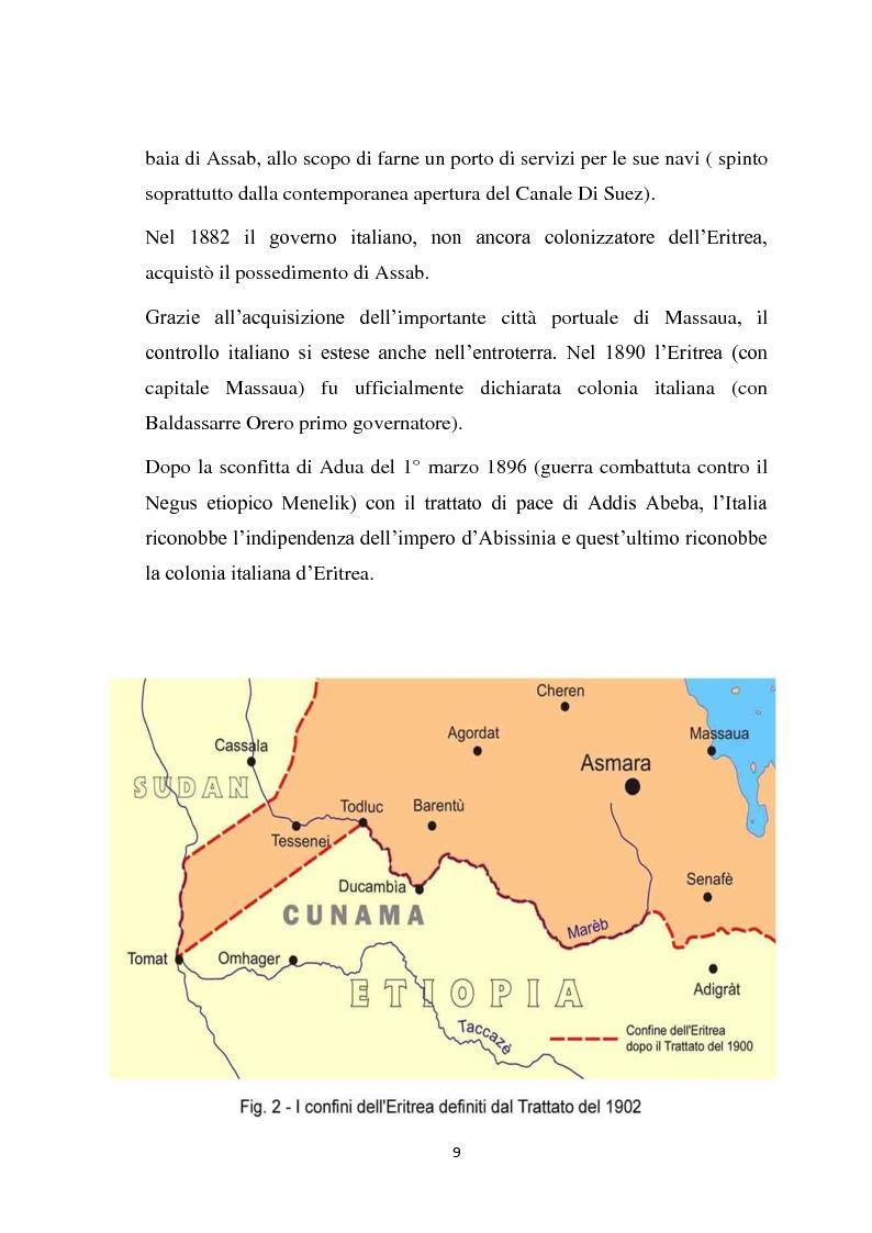 Anteprima della tesi: La politica coloniale e amministrativa italiana in Eritrea dal 1880 al 1912, Pagina 6