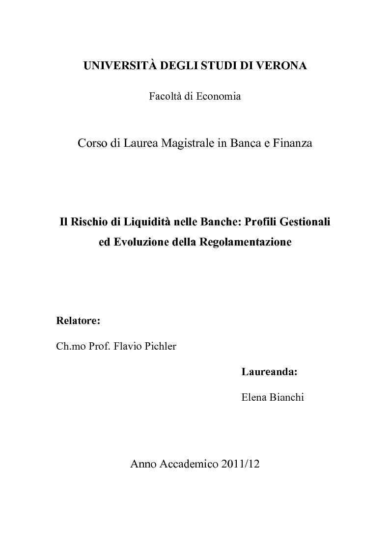 Anteprima della tesi: Il rischio di liquidità nelle banche: profilo gestionali ed evoluzione della regolamentazione, Pagina 1