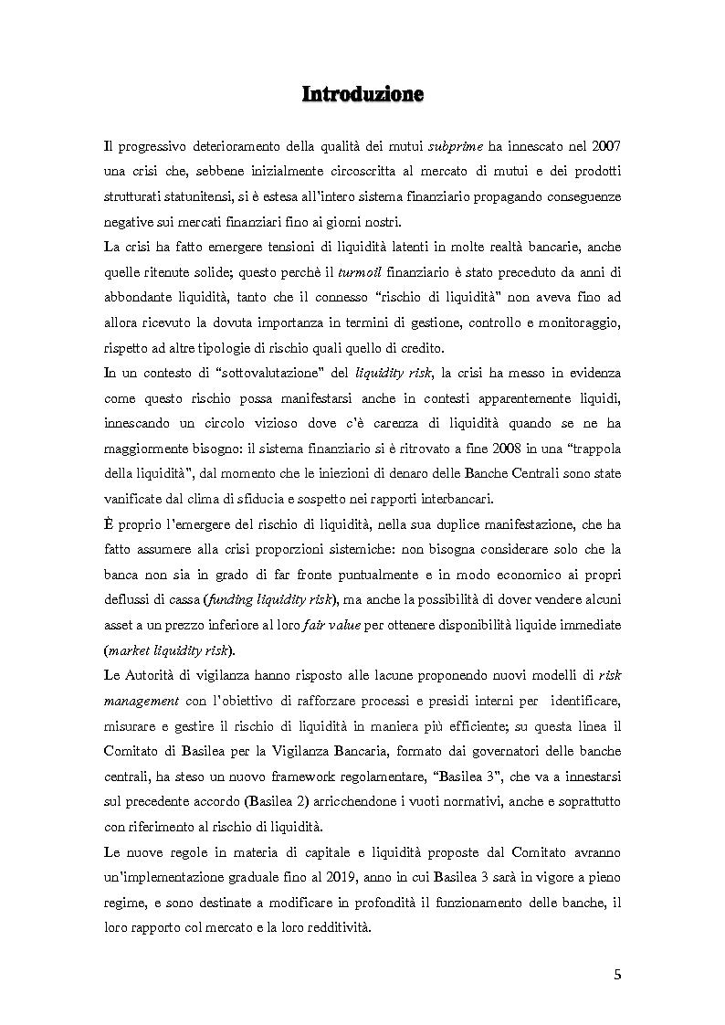 Anteprima della tesi: Il rischio di liquidità nelle banche: profilo gestionali ed evoluzione della regolamentazione, Pagina 2