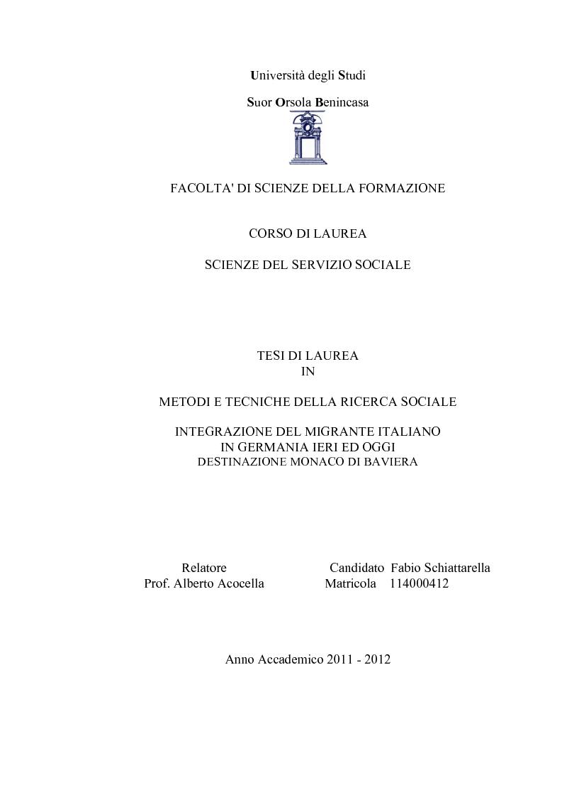 Anteprima della tesi: Integrazione del migrante italiano in Germania ieri ed oggi. Destinazione Monaco di Baviera, Pagina 1