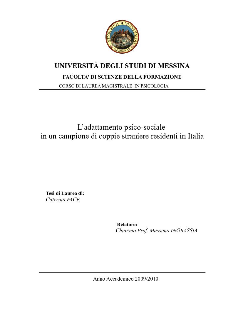 Anteprima della tesi: L'adattamento psico-sociale in un campione di coppie straniere residenti in Italia, Pagina 1