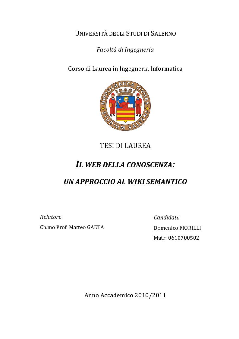 Anteprima della tesi: Il web della conoscenza: un approccio al wiki semantico, Pagina 1
