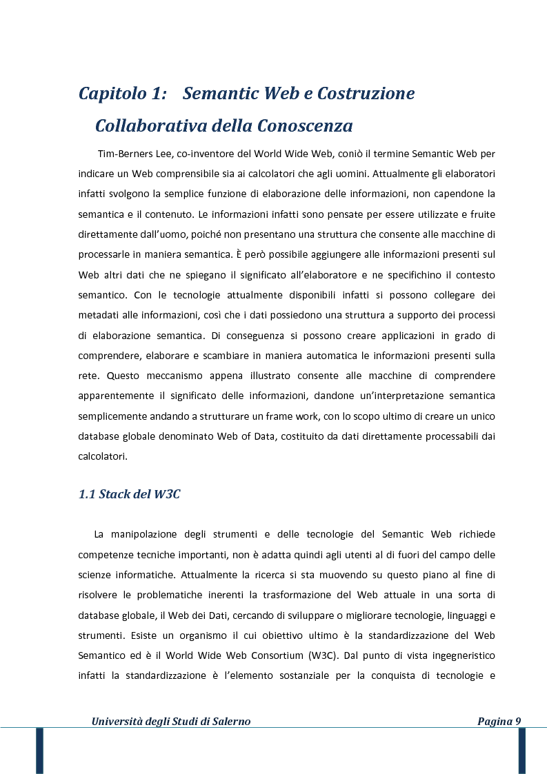 Anteprima della tesi: Il web della conoscenza: un approccio al wiki semantico, Pagina 5