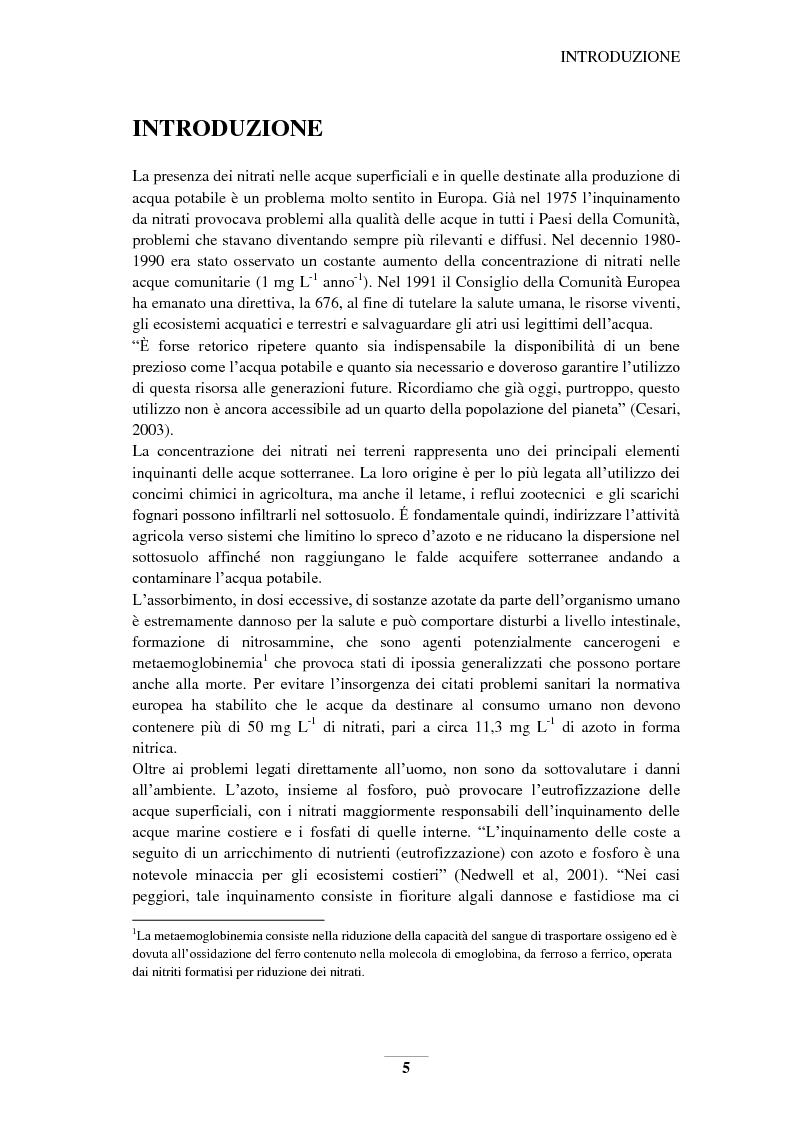 Anteprima della tesi: Riduzione e prevenzione dell'inquinamento delle acque dai nitrati provenienti da fonti agricole, Pagina 2
