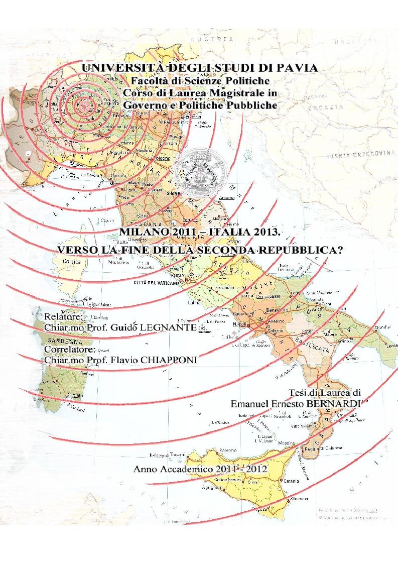 Anteprima della tesi: Milano 2011-Italia 2013. Verso la fine della Seconda Repubblica?, Pagina 1