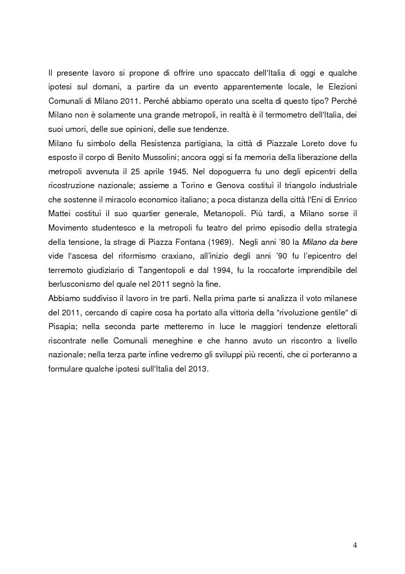 Anteprima della tesi: Milano 2011-Italia 2013. Verso la fine della Seconda Repubblica?, Pagina 3