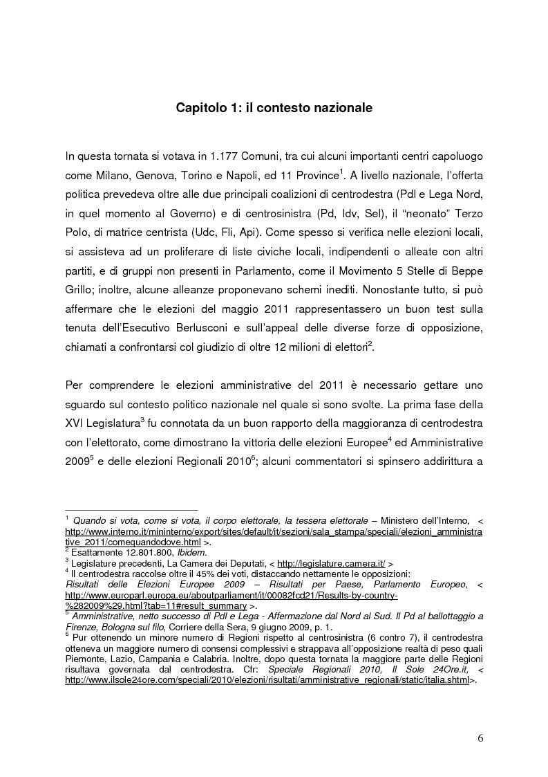 Anteprima della tesi: Milano 2011-Italia 2013. Verso la fine della Seconda Repubblica?, Pagina 5