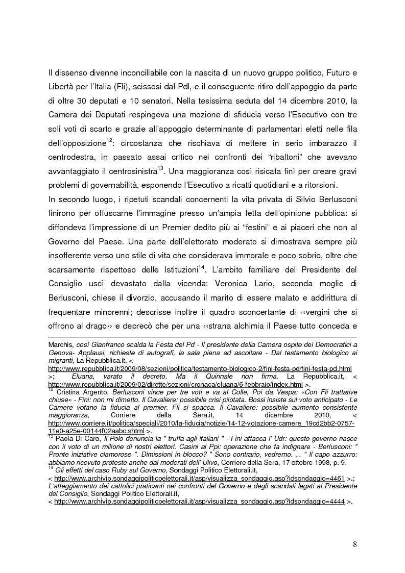 Anteprima della tesi: Milano 2011-Italia 2013. Verso la fine della Seconda Repubblica?, Pagina 7